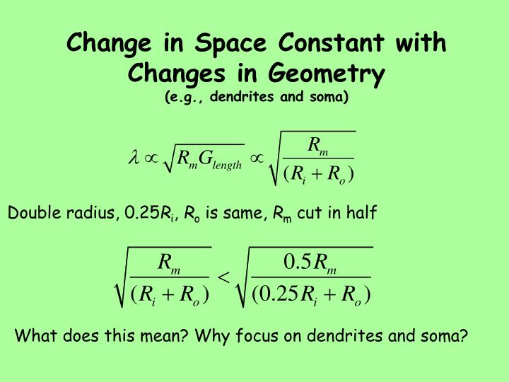 Change in Space Constant with Changes in Geometry