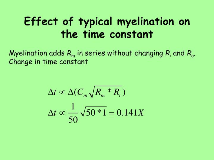 Effect of typical myelination on the time constant