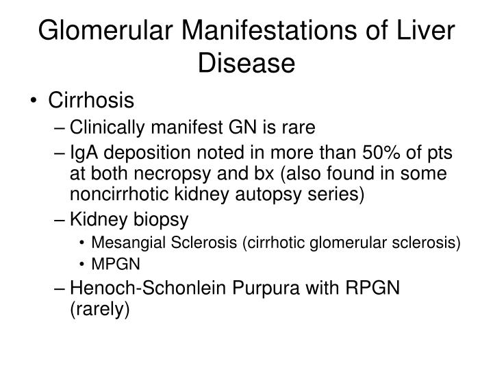 Glomerular Manifestations of Liver Disease