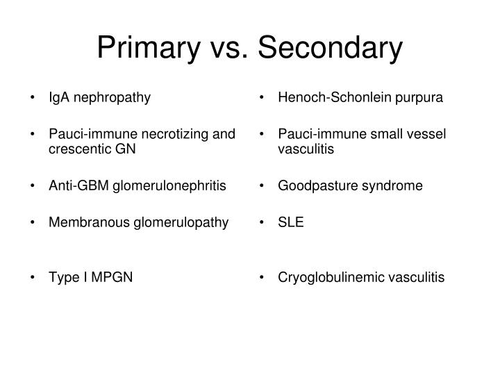 Primary vs secondary