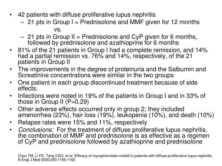 42 patients with diffuse proliferative lupus nephritis