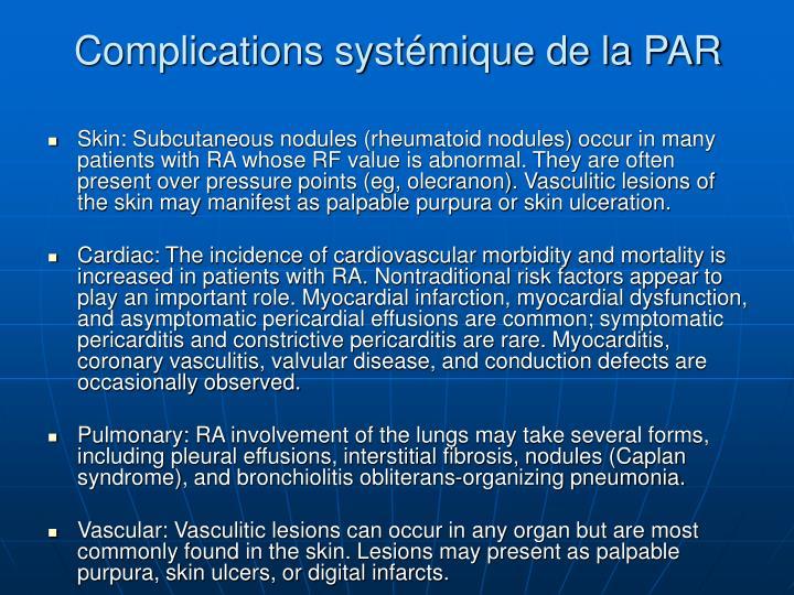 Complications systémique de la PAR