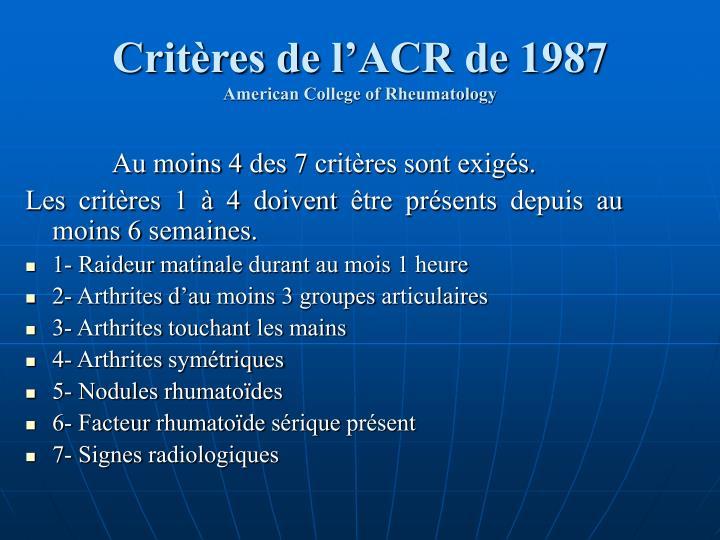 Critères de l'ACR de 1987