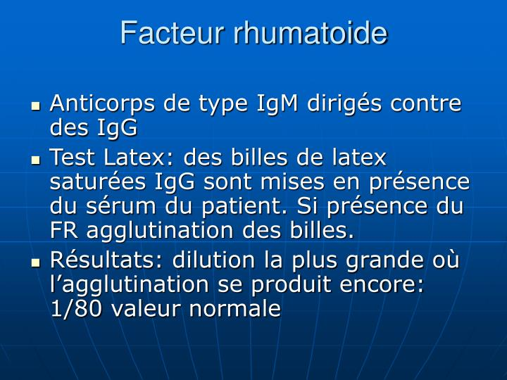 Facteur rhumatoide