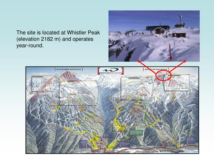 The site is located at Whistler Peak (elevation 2182 m) and operates year-round.