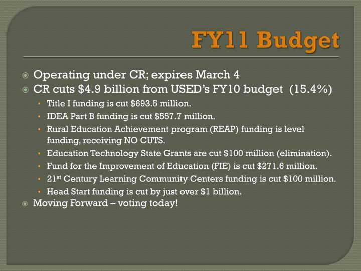 FY11 Budget