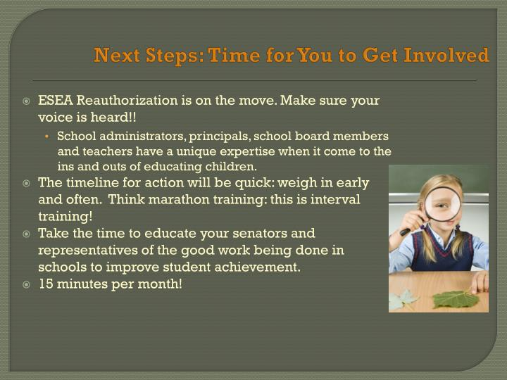 Next Steps: Time for You to Get Involved