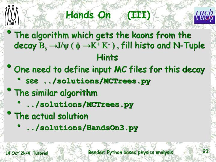 Hands On    (III)