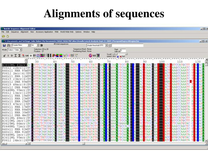 Alignments of sequences