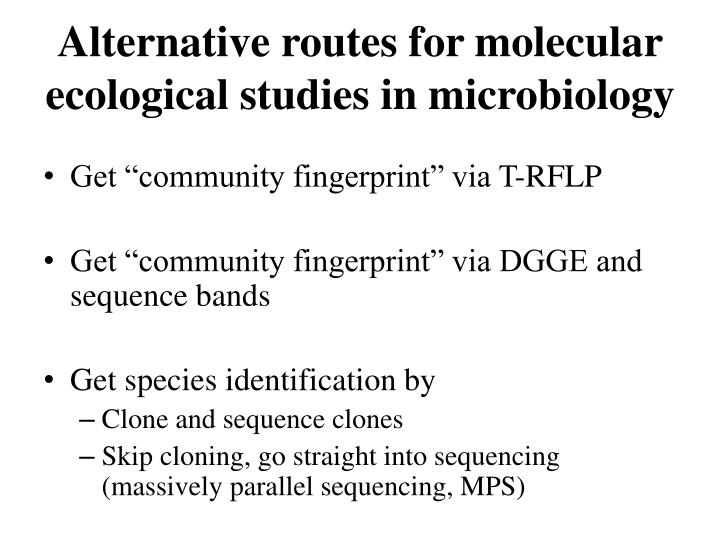 Alternative routes for molecular ecological studies in microbiology