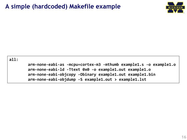 A simple (hardcoded) Makefile example