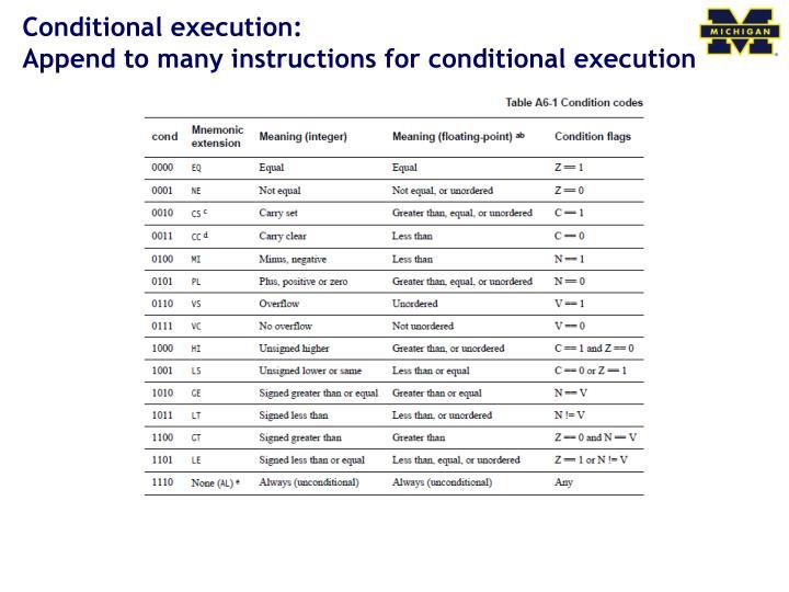 Conditional execution: