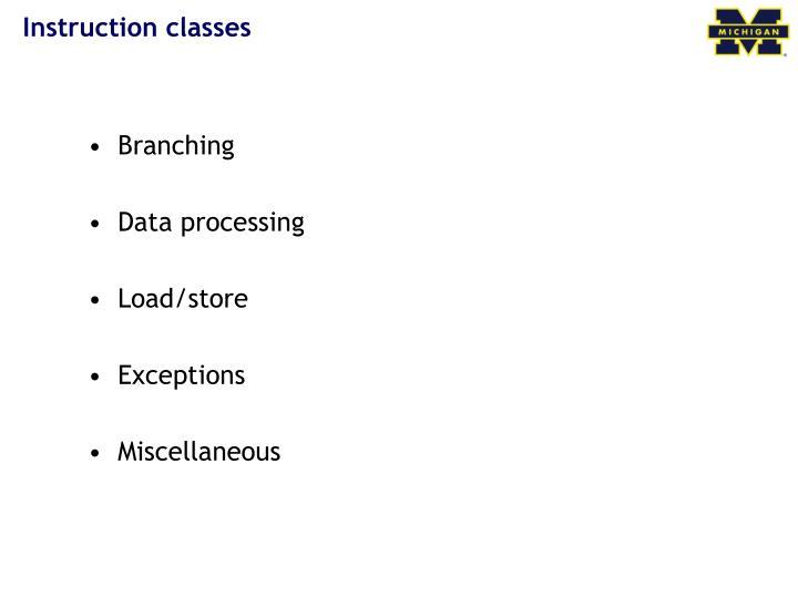 Instruction classes