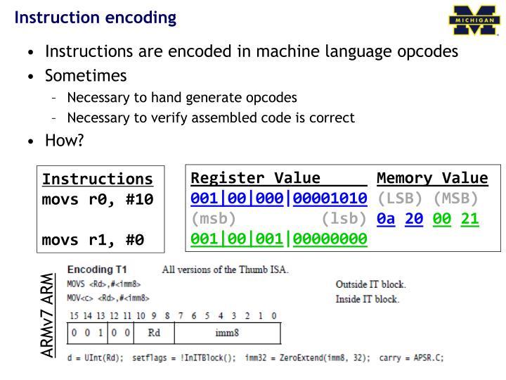 Instruction encoding