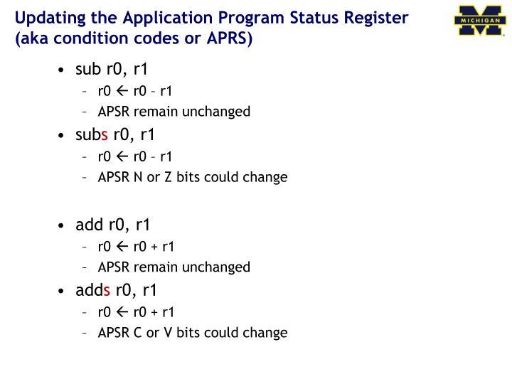 Updating the Application Program Status Register