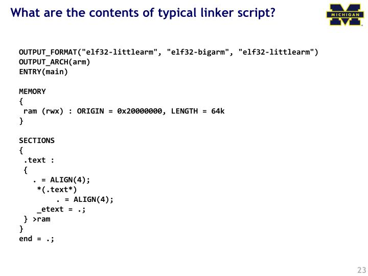 What are the contents of typical linker script?
