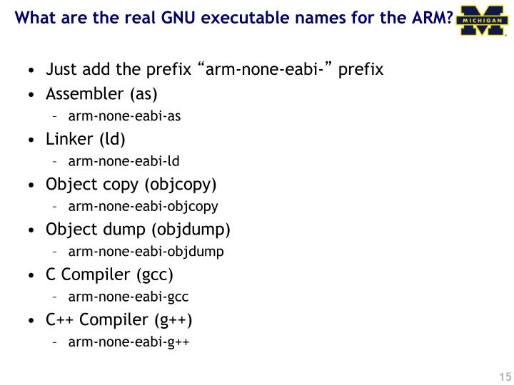 What are the real GNU executable names for the ARM?