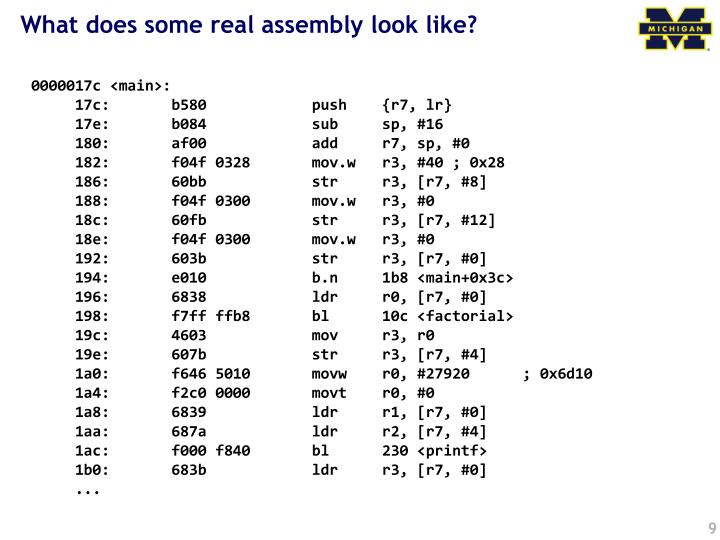 What does some real assembly look like?