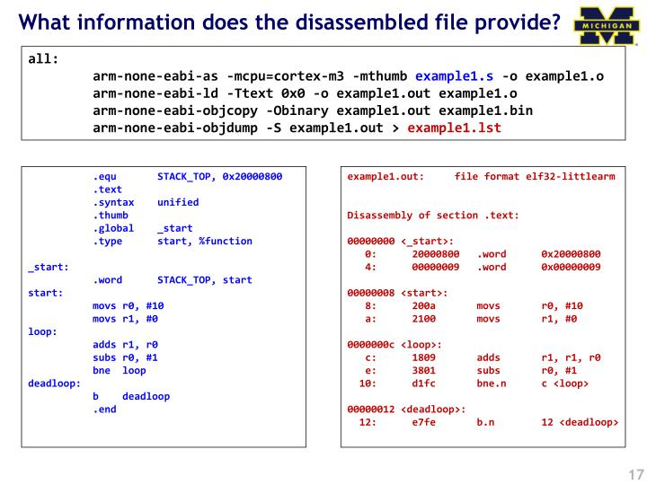What information does the disassembled file provide?