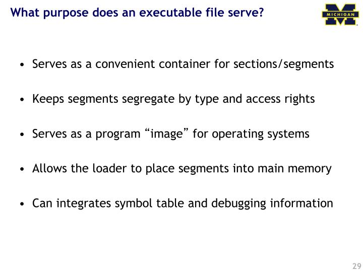 What purpose does an executable file serve?