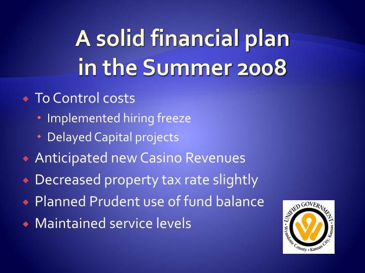A solid financial plan