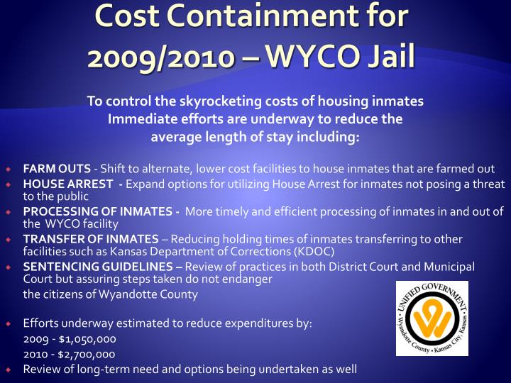 Cost Containment for 2009/2010 – WYCO Jail