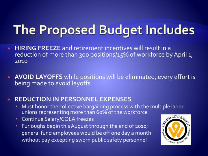 The Proposed Budget Includes
