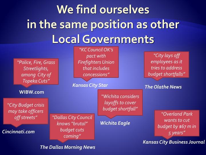 We find ourselves