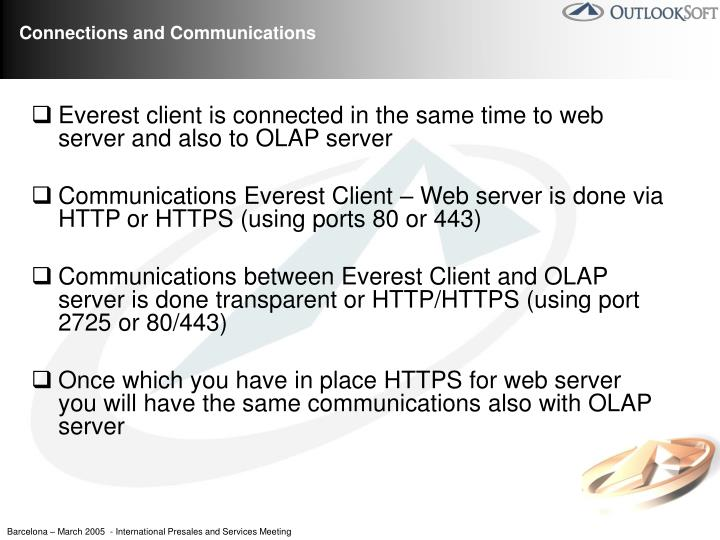 Everest client is connected in the same time to web server and also to OLAP server