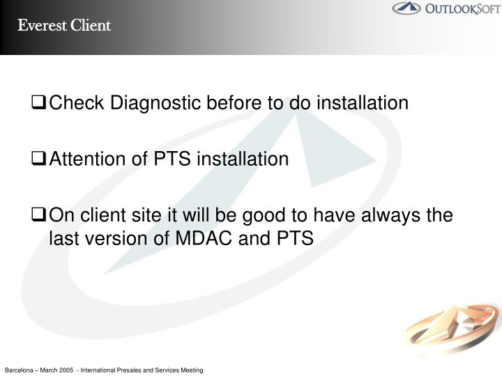 Check Diagnostic before to do installation