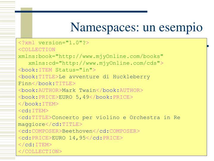 Namespaces: un esempio