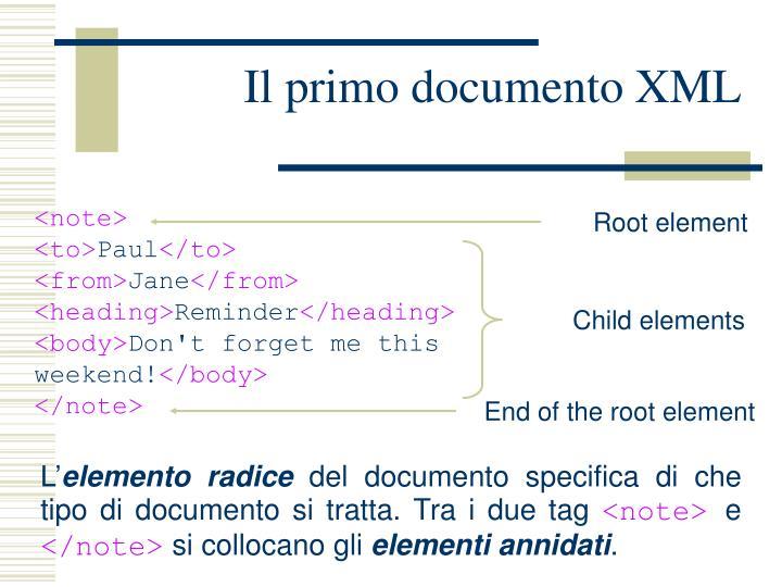 Il primo documento XML