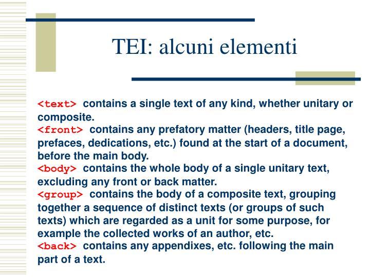 TEI: alcuni elementi