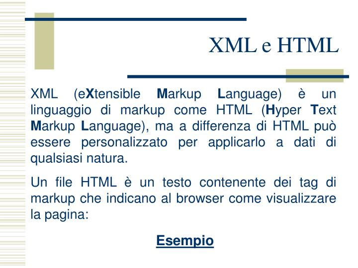 XML e HTML
