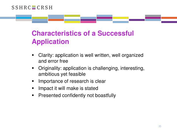 Characteristics of a Successful Application