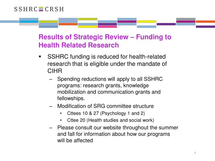 Results of Strategic Review – Funding to Health Related Research