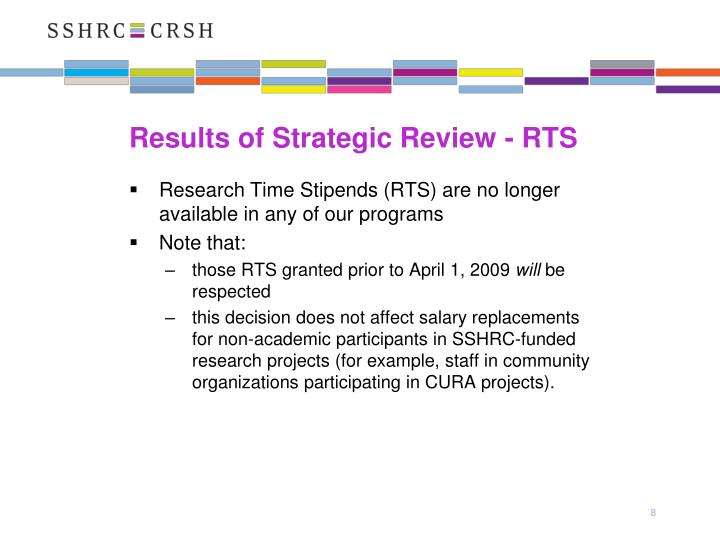 Results of Strategic Review - RTS