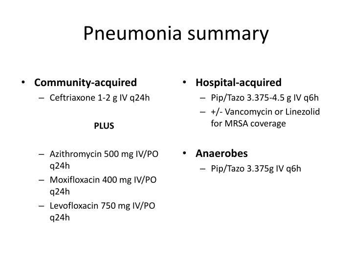Pneumonia summary