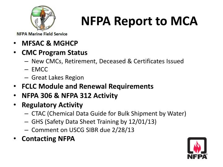 NFPA Report to MCA