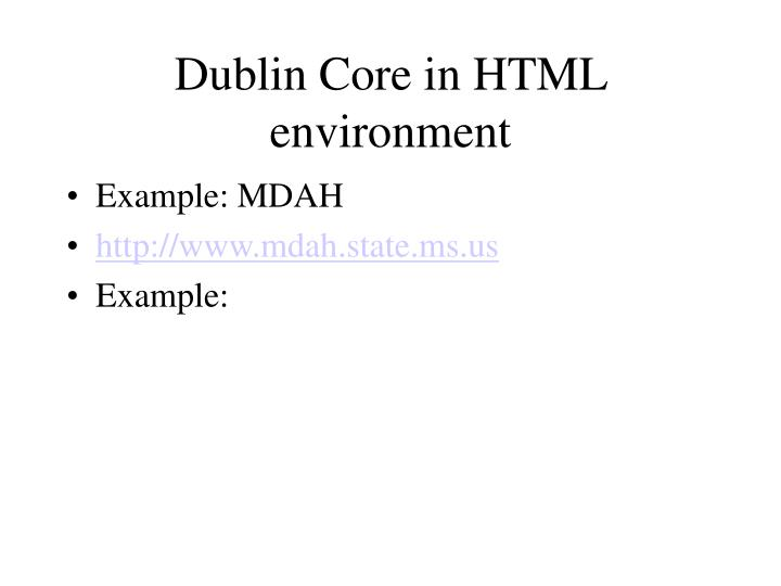 Dublin Core in HTML environment