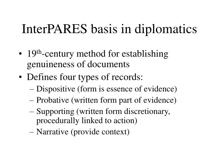 InterPARES basis in diplomatics