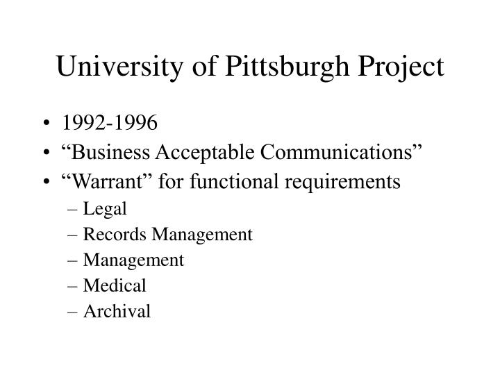 University of Pittsburgh Project