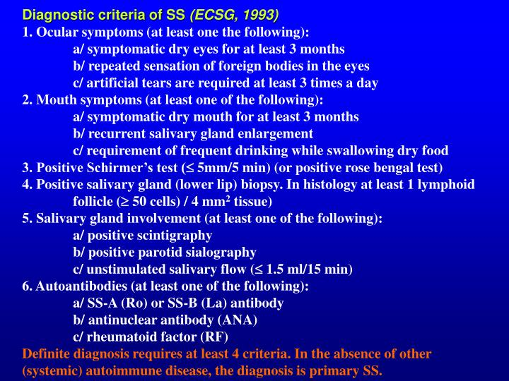 Diagnostic criteria of SS