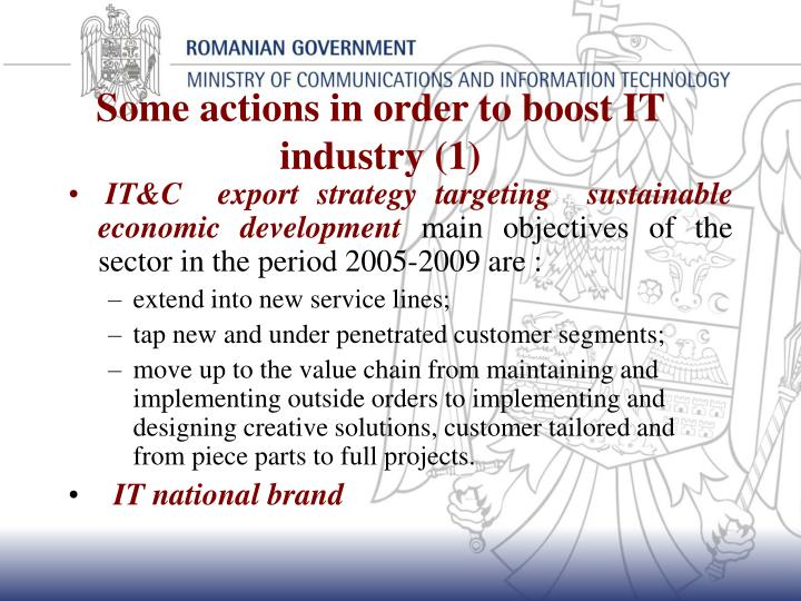 Some actions in order to boost IT industry (1)