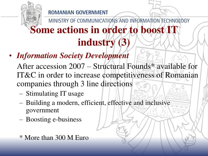 Some actions in order to boost IT industry (3)