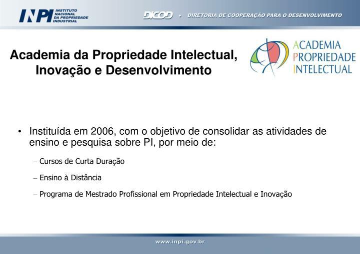 Instituída em 2006, com o objetivo de consolidar as atividades de ensino e pesquisa sobre PI, por meio de: