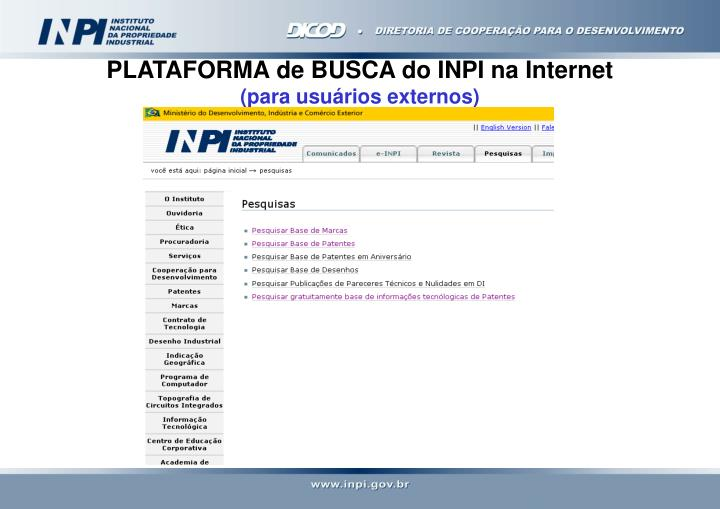 PLATAFORMA de BUSCA do INPI na Internet