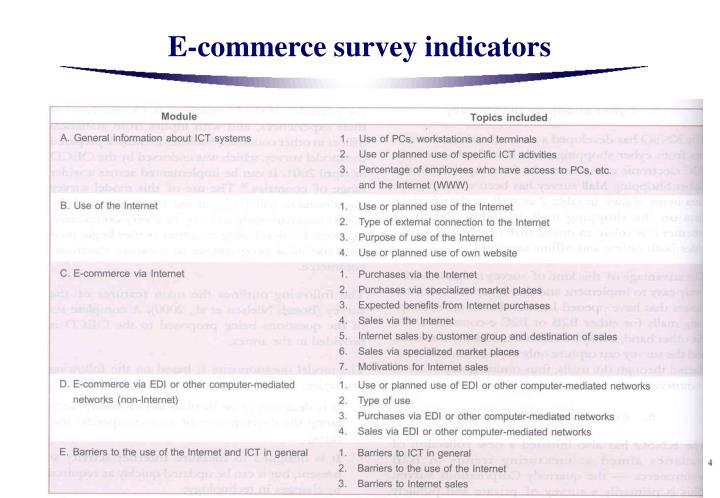 E-commerce survey indicators