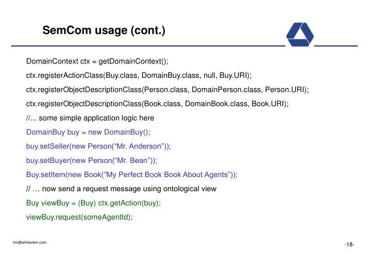 SemCom usage (cont.)