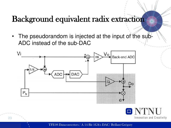 Background equivalent radix extraction